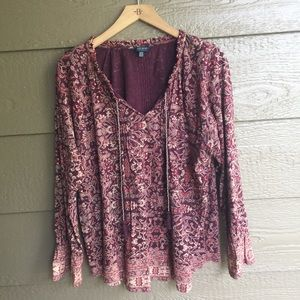 Lucky brand floral printed boho tassel detail top